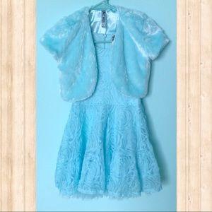 Knitworks Light Blue Dress with Faux Fur Jacket